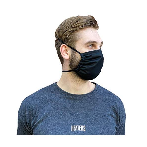 HEATERS-Atem-Mundschutz-Stoff-Maske-100-Baumwolle-Schwarz-3er-oder-5er-Pack