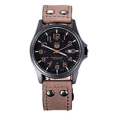 Relojes, odgear Vintage para hombre impermeable Fecha correa de cuero del deporte del ejército de