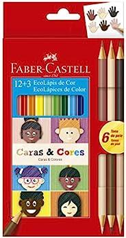 Lápis de Cor Ecolápis Caras & Cores 12 Cores + 6 Tons de Pele, Faber-Cas