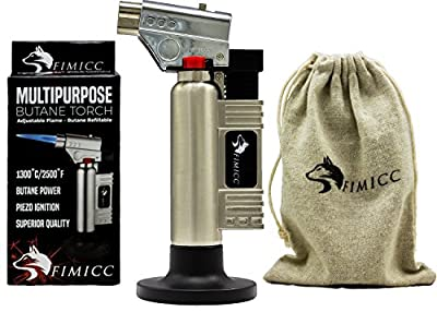 fimicc Culinary Butane Torch–Refillable Cooking Torch with Two Type of Flames,Safety Lock&Adjustable Flame–For Creme Brulee,Desserts,Camping&More–BONUS Cotton Bag,Recipe E-book&Video from fimicc