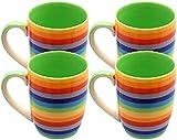 Windhorse Set of 4 Rainbow Striped 10cm Ceramic Mugs (Hoops - Tall) (250ml)