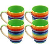 Windhorse Set of 4 Rainbow Striped 10cm Ceramic Mugs (Hoops - Tall) (250ml)