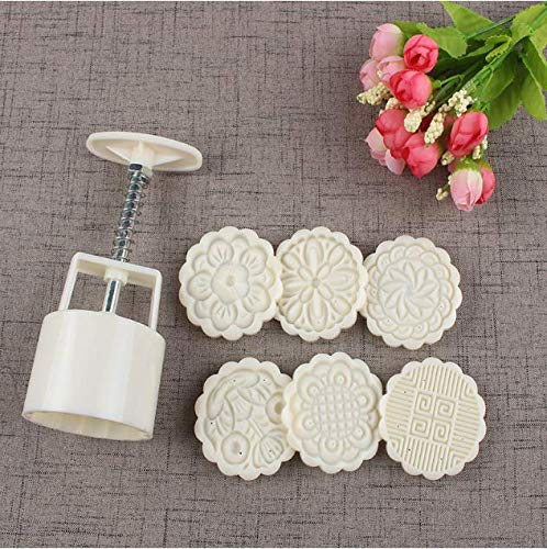 Moon Cake Mold Biscuit Stamp Pastry Tool Hand Pressure DIY Cake Decoration kit Shower Bomb Mold - 6 Floral Patterns (75 g Size) Hemao HM0801