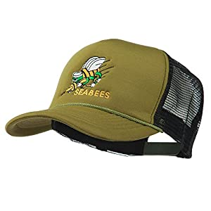 Navy Seabees Symbol Embroidered Mesh Trucker Cap - Cactus Black