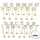 SODIAL Wooden Wedding Table Numbers 1-25 pcs Vintage Home Birthday Party Event Banquet Decor Anniversary Decoration Favors Signs Color Set Stands With Base Holder Catering Reception