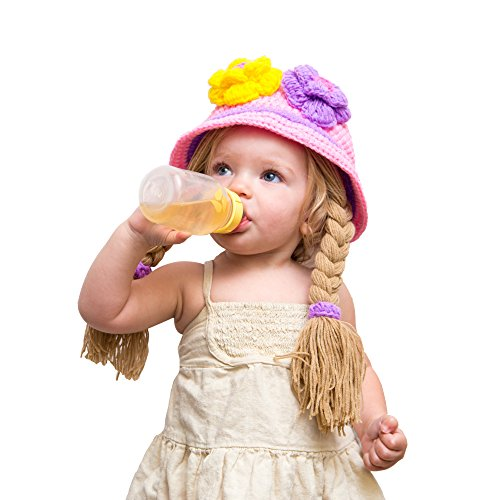 Anna And Elsa Diy Costumes (Disney Princess Anna Elsa knit Baby Girl hat wig with braid (Purple Large))