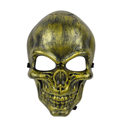 Scary Halloween Customes (Unisex Halloween Custome Mask Scary Skull Mask(Gold))