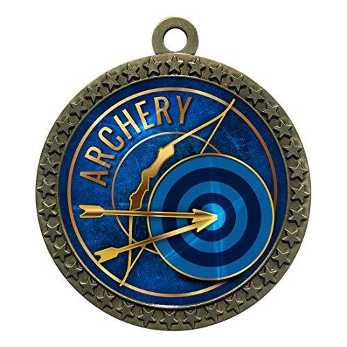 Express Medals Archery Gold Medal Trophy Award with Neck Ribbon STDD212-EG6 1PK ()