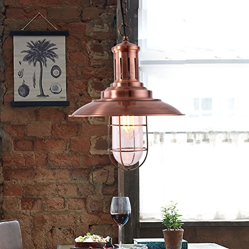 Pendant Light Copper (MSTAR Industrial Pendant Lighting Fishman Style Ceiling Light Fixture Farmhouse Pendant Light for Kitchen Café Bar (Antique Copper))