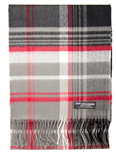 Cashmere Nova Check - 2 PLY 100% Cashmere Winter Scarf Elegant Collection Made in Scotland Warm Soft Wool Solid Plaid (Grey Red Black JSF)