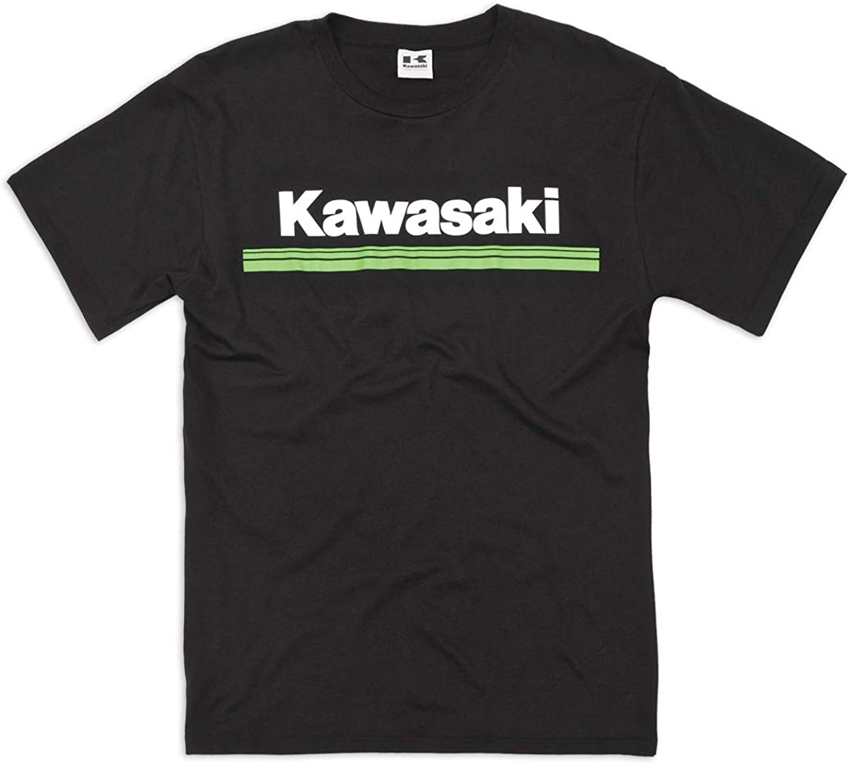 Kawasaki 3 Green Lines Short Sleeve T-Shirt Black
