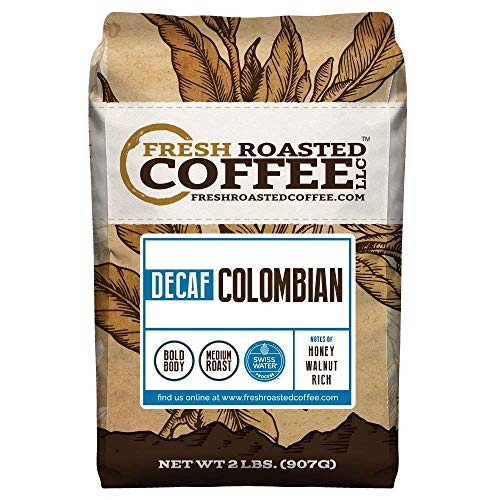 Fresh Roasted Coffee LLC, Colombian Swiss Water Decaffeinated Coffee, Medium Roast, Whole Bean, 2 Pound Bag