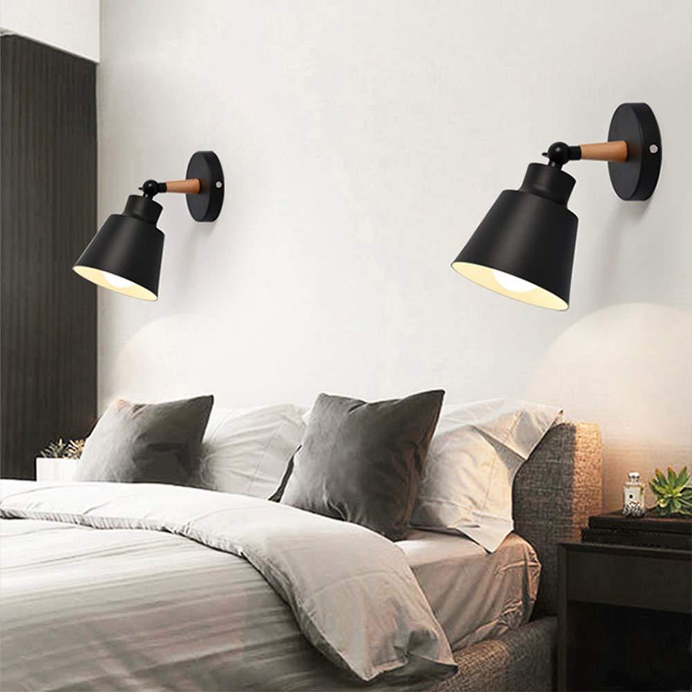 Luminaires Moderne E27 Edison Applique Murale Industrielle en M/étal Loft Lampe pour Caf/é Bar Couloir Salle /à Manger Salon Chambre Noir -2 pi/èces