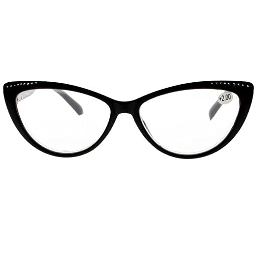 b9c7f5bbcca6 Women Rhinestone Cat Eye Sexy Vintage Style Clear Lens Reading Glasses Red  Black (Black