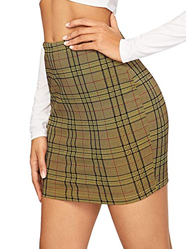 SHEIN Women's Basic Stretch Plaid Mini Bodycon Pencil Skirt Medium Green Plaid ()