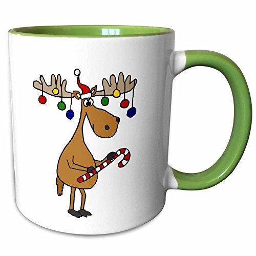 3dRose All Smiles Art Christmas - Funny Christmas Moose with Christmas Balls and Candy Cane - 15oz Two-Tone Green Mug (mug_220489_12)