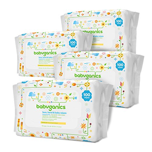 Large Product Image of Babyganics Face, Hand & Baby Wipes, Fragrance Free, 400 Count (Contains Four 100-Count Packs)