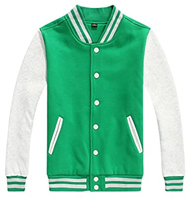 Chouyatou Men's Basic Color-Block Cotton Varsity Letterman Jacket