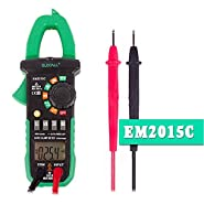 Elecall EM2015C DC Current And Capacitance Measurement Digital Clamp Meter NCV Duty Cycle With Torch Easy To Separate The Wire