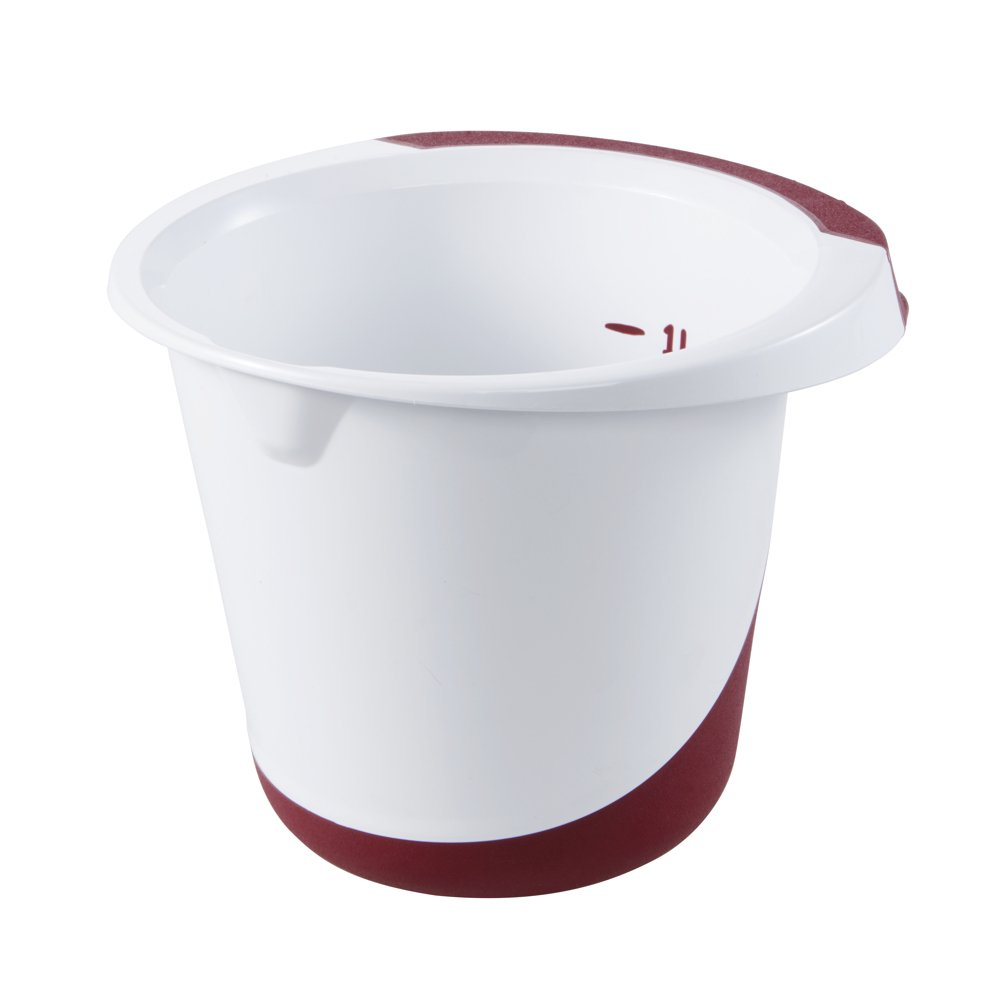 keeeper Rührschüssel carlotta 1,5 Liter weiß bordeaux TeigSchüssel Quirltopf Backzubehör & Kuchendekoration