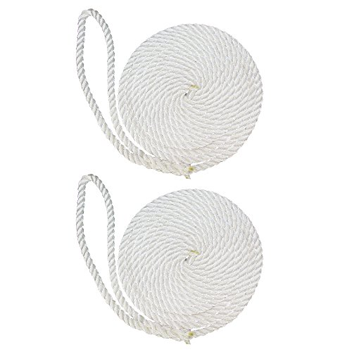 SGT KNOTS Twisted Nylon Dockline (2-Pack, 1/2 in x 15 ft, White) - 3-Strand Twist Nylon Rope Docklines - Marine Ropes for Boat/Boats - Dock Lines