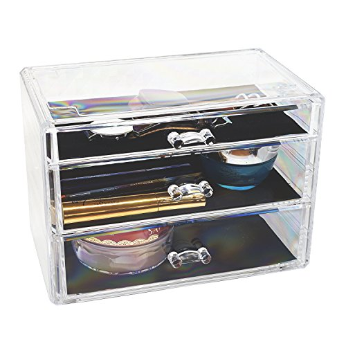 d'Moda Designs Crystal Clear Acrylic, Deluxe Deep Drawer Makeup and Jewelry Organizer; 3 Large Storage Drawers for Lipstick, Brushes, Nail Polish, Compacts and - Acrylic Organizer Three Drawer