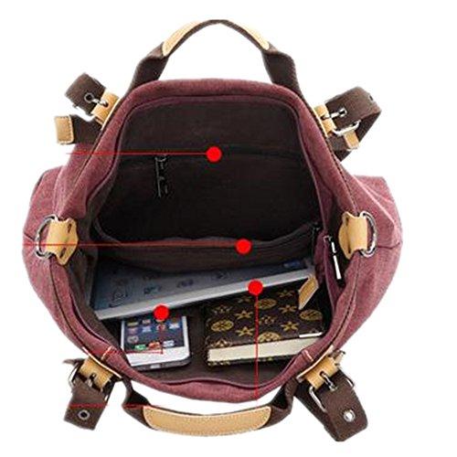 Bestfort Damen Tasche Umhängetasche Schultertasche Handtasche Aktentasche Messenger Bag für Alltag Büro (Rot) Khaki