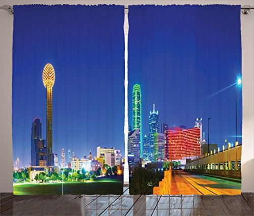 Ambesonne Apartment Decor Collection, Panoramic Overview Dallas and TX in the Night Trump Luxury Tourist Attractions Image, Living Room Bedroom Curtain 2 Panels Set, 108 X 84 Inches, Yellow (Party City In Dallas Tx)