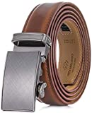 Marino Men's Genuine Leather Ratchet Dress Belt With Automatic Buckle, Enclosed in an Elegant Gift Box - Burnt Umber - Adjustable from 28' to 44' Waist