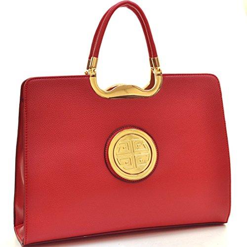 Dasein Women's Classic Designer Faux Buffalo Top Handle Satchel Handbag Briefcase Office Purse w/ Strap