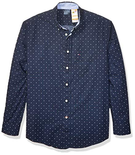 (Tommy Hilfiger Men's Adaptive Magnetic Long Sleeve Button Down Shirt Custom Fit, Blue Dot, Medium)