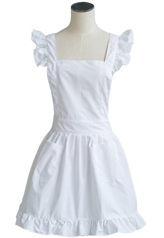 LilMents Petite Maid Ruffle Retro Apron Kitchen Cooking Cleaning Fancy Dress Cosplay Costume (Black) 2C8B