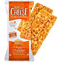 Just the Cheese Bars, Crunchy Baked Low Carb Snack Bars. 100% Natural Cheese. High Protein and Gluten Free … (Aged Cheddar)