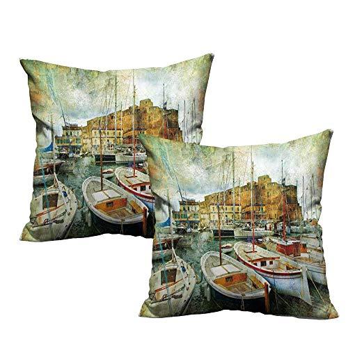 (WinfreyDecor Creative Pillowcase Marine Naples Small Boats at Historical Italian Coast with Heritage Castle Nautical Artwork Protect The Waist W15 x L15 Multicolor)