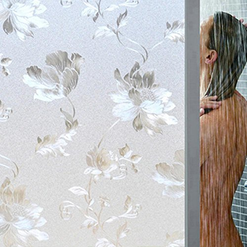 VKTECH 3D Hibiscus Flower Frosted Privacy Window Film Sticker Glass Cling Opaque Static Cling Film Removable Waterproof Window Stickers Decoration Decals 72 X 39 inch