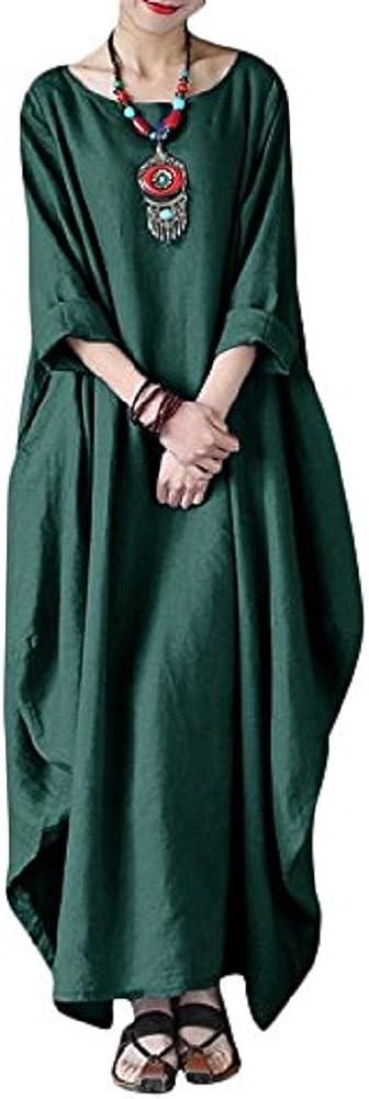 Vestido Tallas Grandes Mujer Verano Elegante Asimetricos Vestidos de Premama Manga 3//4 para Fiesta Coctel Playa Boho Chic Tunicas Largas Caftan Casual Oversize Camiseta Blusa Top Lino Maxi Dress