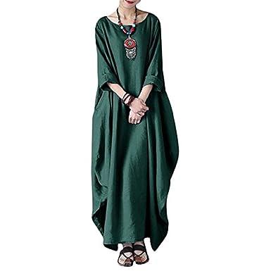 141abec374 Landove Women Summer Cotton Linen Dress Plus Size Vintage Loose Kaftan  Casual Boho Chic A Line