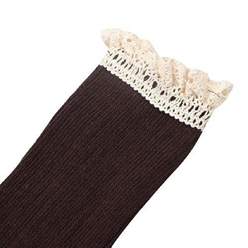 Lowpricenice Mujeres Crochet Lace Trim Cotton Knit Footed Pierna De La Rodilla Rodilla High Stocking Coffee