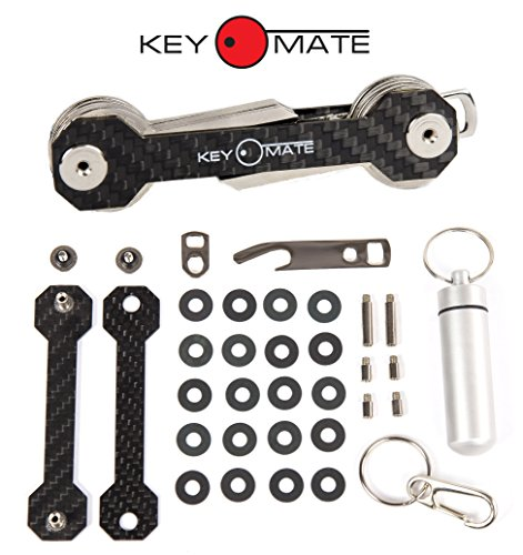 Key Organizer Keychain - Compact Smart Key Holder - Smart Key Chain - Pocket Key Holder for Women and Men - Carbon Fiber Key Chain Organizer - Up to 18 Keys - Bottle Opener Carabiner - Gift by KeyMate