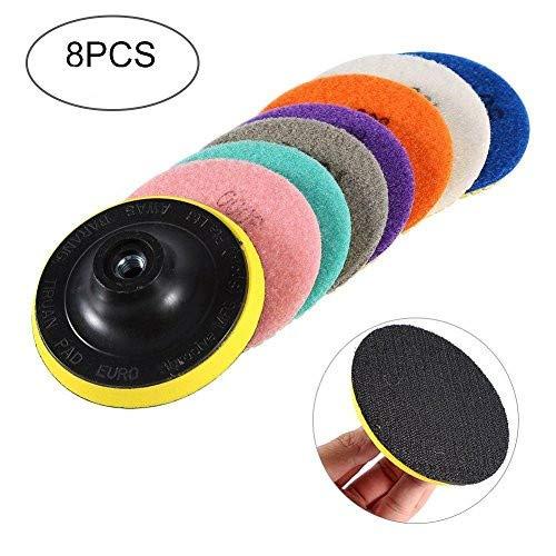Grinding Disc Set, 4 inch 8Pcs Diamond Wet Dry Polishing Pads Disc for Granite Marble Concrete Stone ()