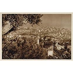 1925 Panorama View Genoa Genova Genua Genes Italy NICE! - Original Photogravure