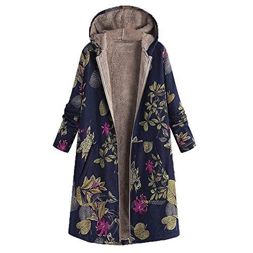 Winkey À Femme Manteau Floral Imprimé D'hiver Chaud Pour Capuche trYtnAqUw