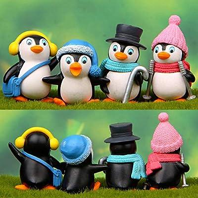 Anniston Kids Toys, 4Pcs Cute Winter Penguin Miniature Figurine DIY Bonsai Fairy Garden Ornament DIY Toys Perfect Fun Time Play Activity Gift for Boys Girls: Toys & Games