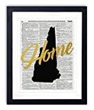 """New Hampshire Home Gold Foil Art Print - Vintage Dictionary Reproduction Art Print """"Home"""" Definition 8x10 inches Unframed"""