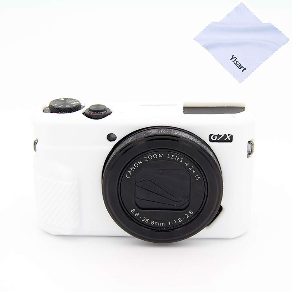 Yisau G7 X Mark II ケース プロフェッショナル シリコン ラバー ケース カバー カバー カバブル 保護用 キヤノン G7X G7X Mark II カメラ用 + マイクロファイバー クロス (ホワイト) B07RRQQHT5