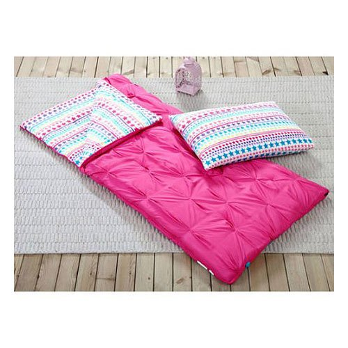 Sleeping Bag and Pillow Cover, Pink with Rainbow Stars Indoor Outdoor Camping Youth Girls
