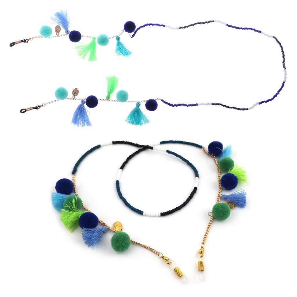 2# ZOOMY Gafas de Lectura Cadena Sujetador Gafas de Sol Bolas Borla Collar Correa de Cuello