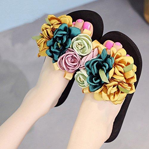 Fondo Fiesta Tamaño Ropa de 4 Flores EU37 UK4 Zapatos 5 40 Color 18 CN37 Moda plano mujer Amarillo verano moda colores LIXIONG sandalias 235 antideslizante playa zapato exterior 5 Negro años wHtP0xF