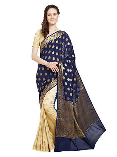Viva N Diva Saree for Women's Navy Blue & Cream Banarasi Art Silk Saree with Un-Stiched Blouse Piece,Free (Blue Silk Sari Saree)