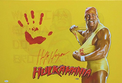 Hulk Hogan Original Hand Print Unstretched Canvas Signed Authentic Handprint - JSA Certified - Autographed Wrestling Photos